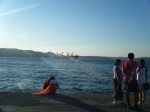 ship passing through the Dardanelles