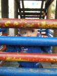 hiding out, at the playground